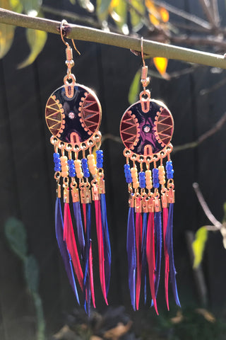 Magenta & Blue Feather Earrings #H1036