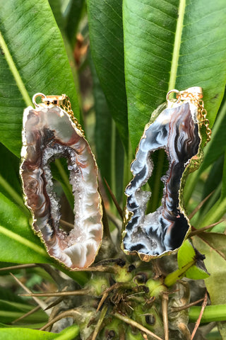 Black Agate Slice Necklace #I1134