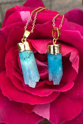 Blue Cylinder Crystal Necklace #I1130