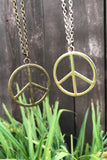 Silver Peace Sign Necklace #I1129
