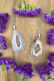 Silver Agate Slice Necklace #I1126