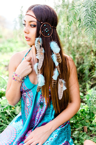 Turquoise & Brown Dreamcatcher Headband #A1031