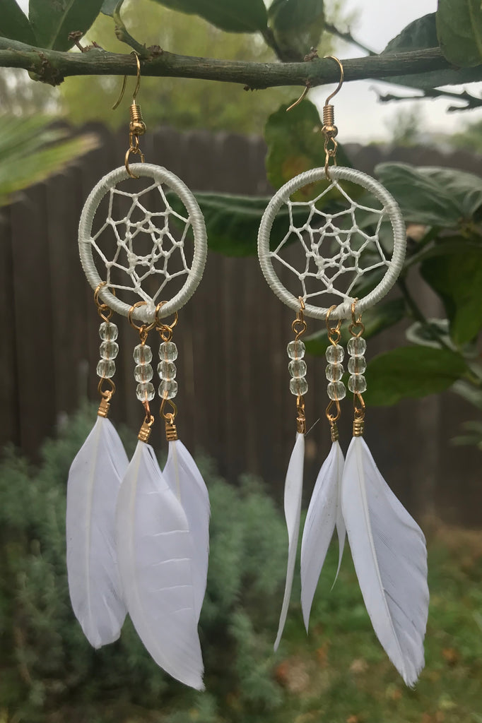 White Dreamcatcher Earrings #H1038