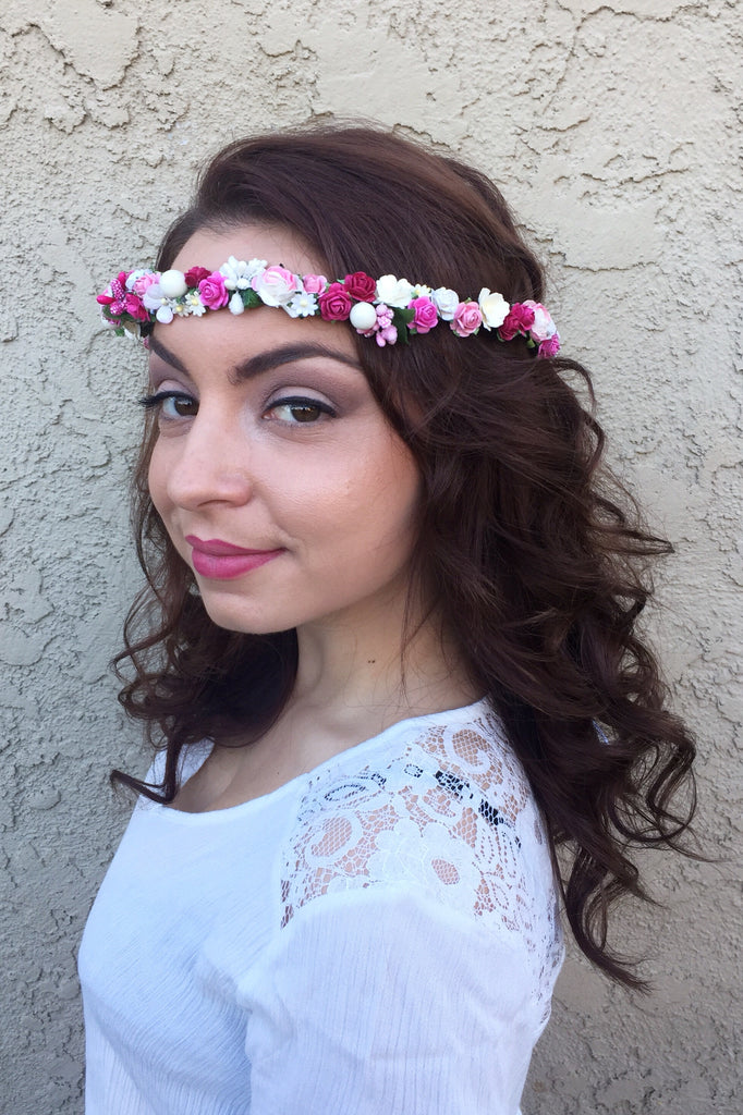 Pink Flower Crown #D1039