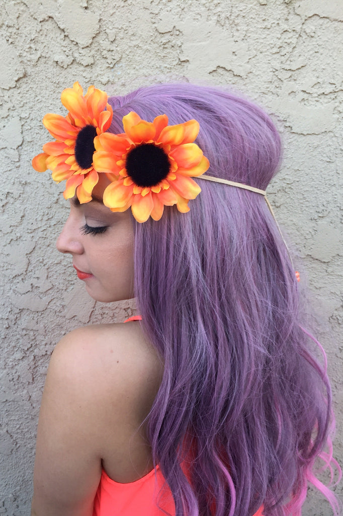 Orange Sunflower Headband #C1090
