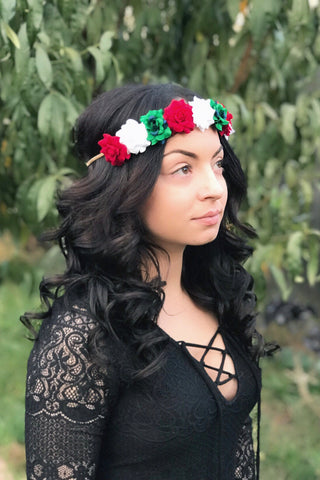 Red, White & Green Rose Headband #C1104