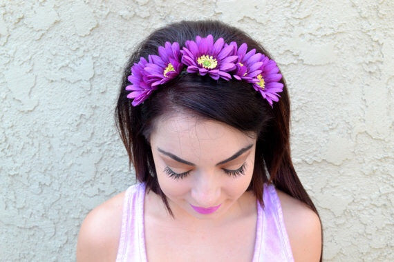 Purple Daisy Headband #C1016