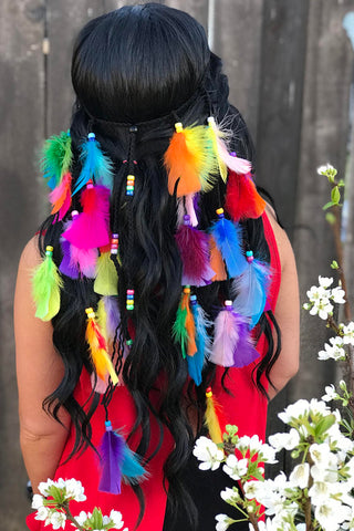 Rainbow Feather Headband #B1046