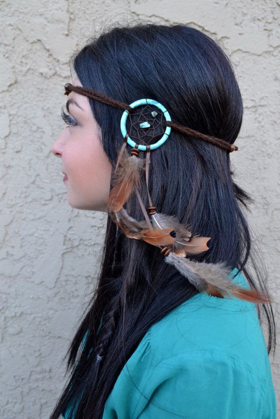 Teal & Brown Dreamcatcher Headband #A1014