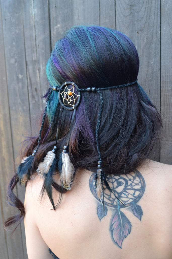 Black Tribal Dreamcatcher Headband #A1001
