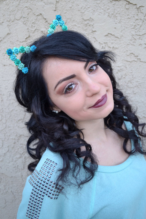 Teal Floral Cat Ears #E1006