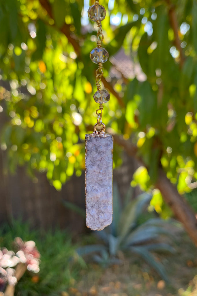 Grey Druzy Necklace #I1163