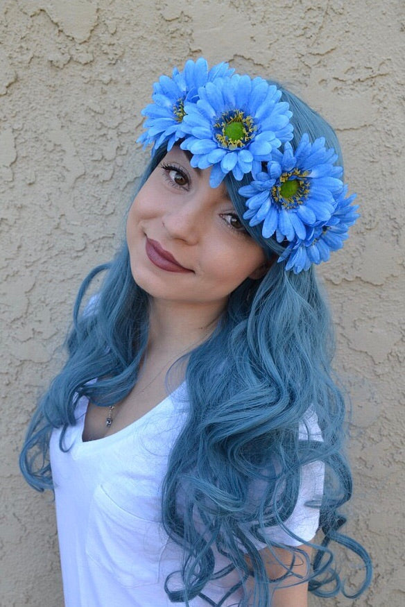 Blue Gerbera Headband #C1080
