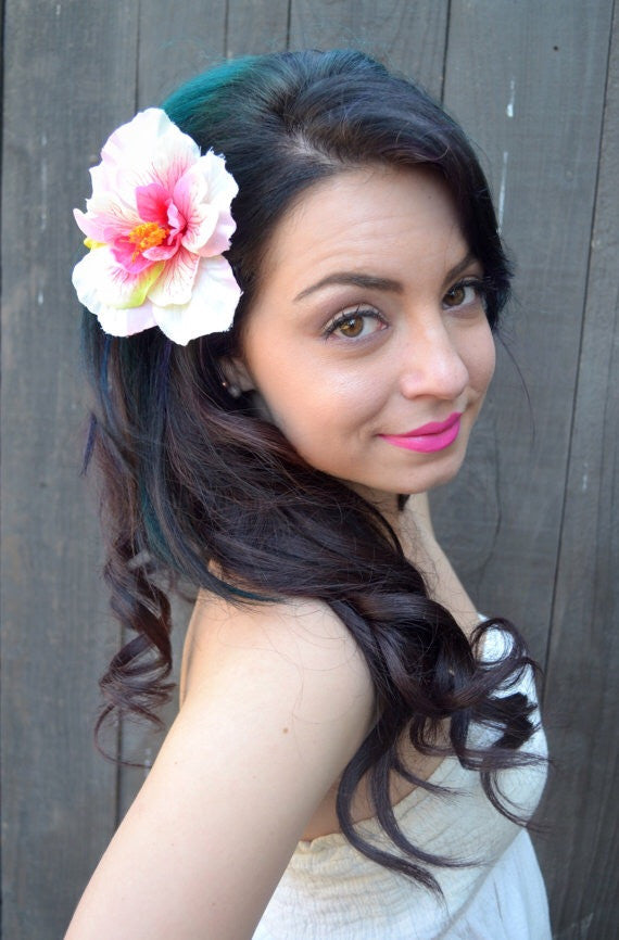 White-Pink Hibiscus Clip #F1004