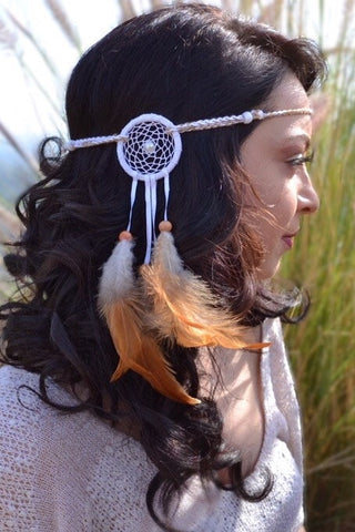 White Dreamcatcher Headband #A1016