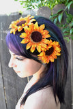 Orange Sunflower Headband #C1033