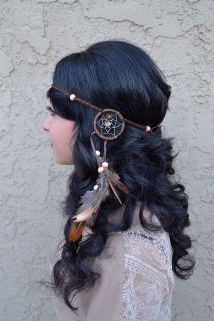 Brown Tribal Dreamcatcher Headband #A1010