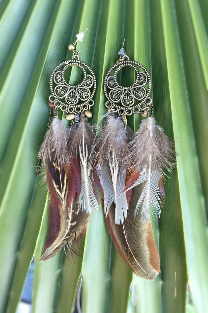 Bronze Feather Earrings #H1006