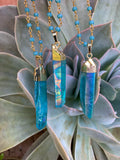 Blue Aura Crystal Necklace #I1066