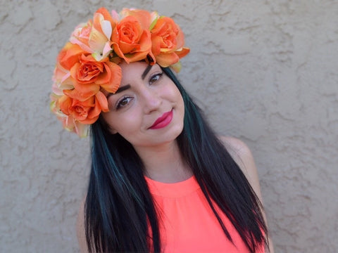 Orange Rose Headband #C1064