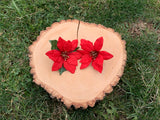 Red Poinsettia Clip #F1015