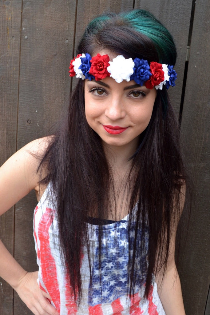 Patriotic Rose Headband #C1005