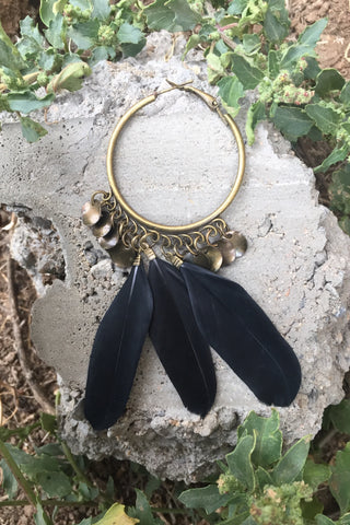 Hoop Feather Earrings #H1012