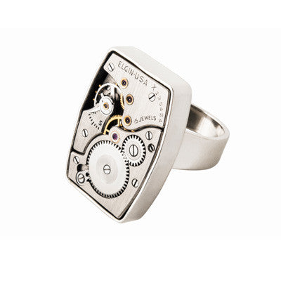 Square vintage watch movement ring