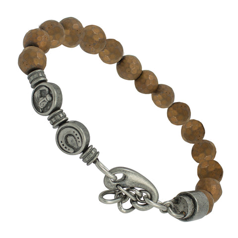 Brown Stainless steel beads bracelet