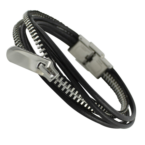 Zipper leather bracelet