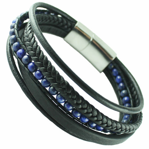 Black leather with blue beads macrame bracelet