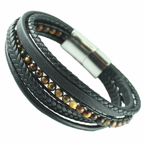 Black leather with tiger eye beads macrame bracelet