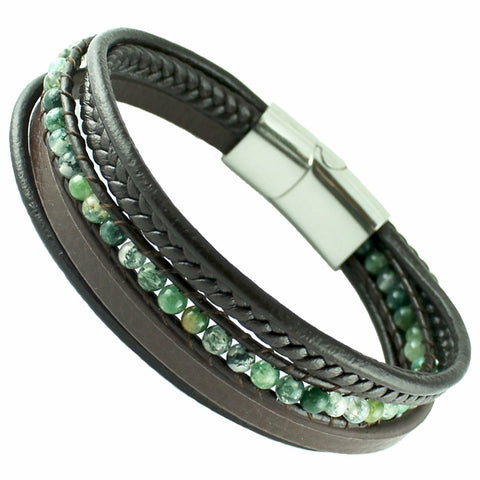 Brown leather with green jade beads macrame bracelet