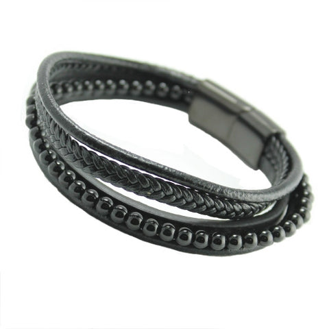 Black leather with black beads multi string bracelet black steel clasp