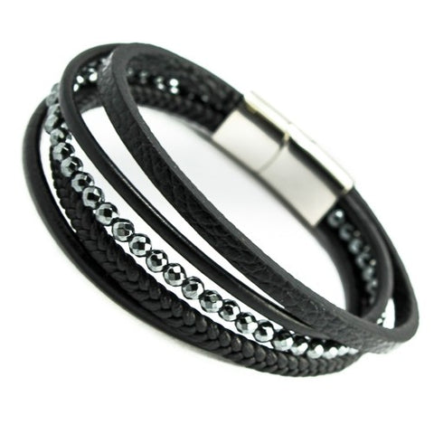 Black leather with hematite beads bracelet
