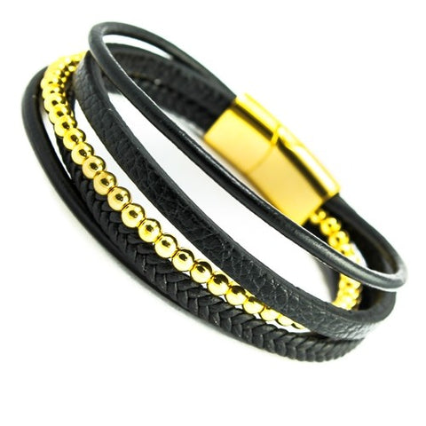 Black leather with gold color beads multi string bracelet