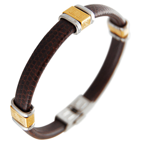 Brown leather bangle