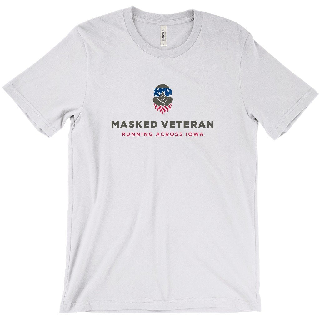 Masked Veteran Running Across Iowa Greatness Apparel T-Shirt