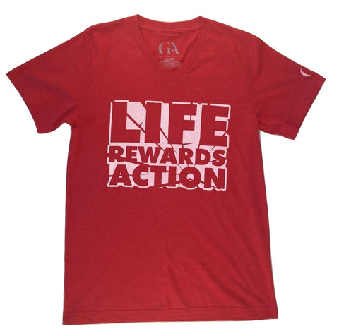 Men's Greatness 'Life Rewards Action' V-Neck Tee