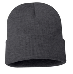 Embroidered Logo - 12 inch Knit Beanie - Charcoal or Heather Grey