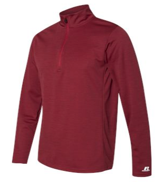 Embroidered Logo Russell Athletic Quarter Zip - Red