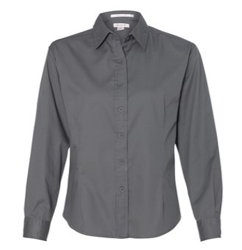 Women's Embroidered FeatherLite Twill Shirt- Black or Grey