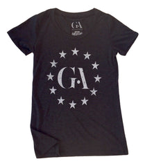 Women's Greatness Charcoal Black 'Logo Stars' Tee
