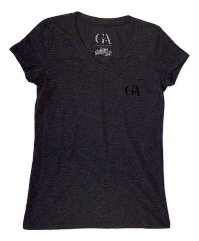 Women's Greatness Black-on-Black 'Logo' V-Neck Tee