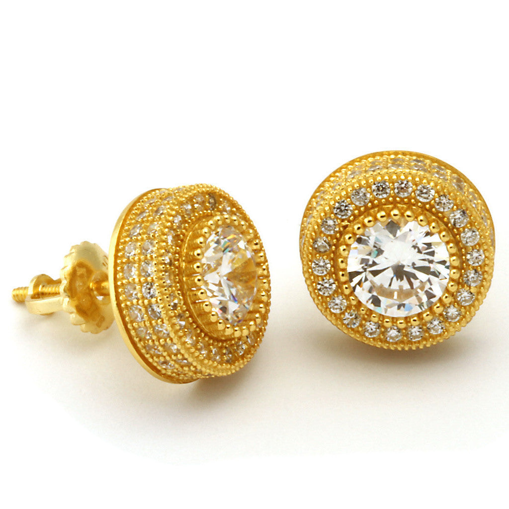 King Ice 14k Gold Round Shaped Cluster Earrings