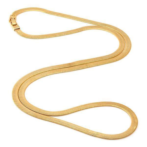 5mm, Thin 14K Gold Herringbone Necklace