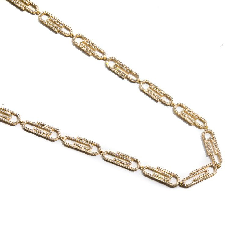 Golden Gilt Paper Clip Necklace