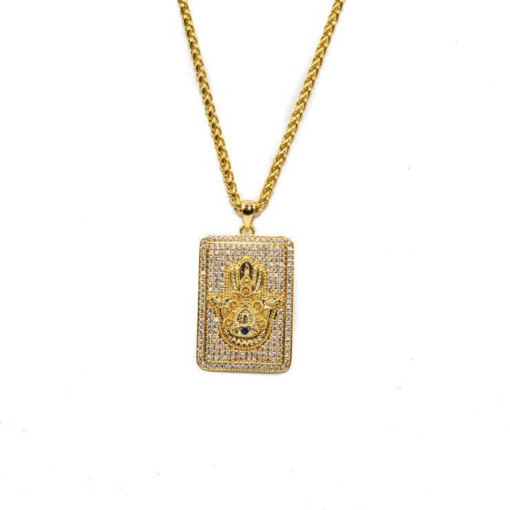 Golden Gilt Hamsa Plate Necklace