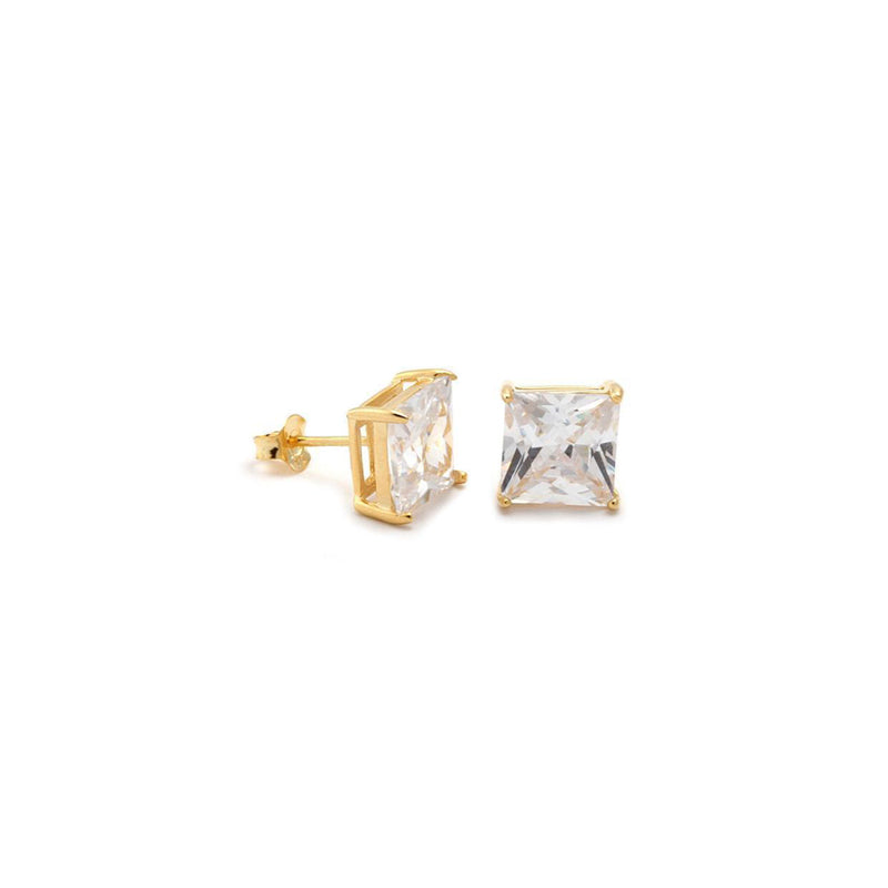 18k Gold Diamond Stud Earring 5MM (Square)