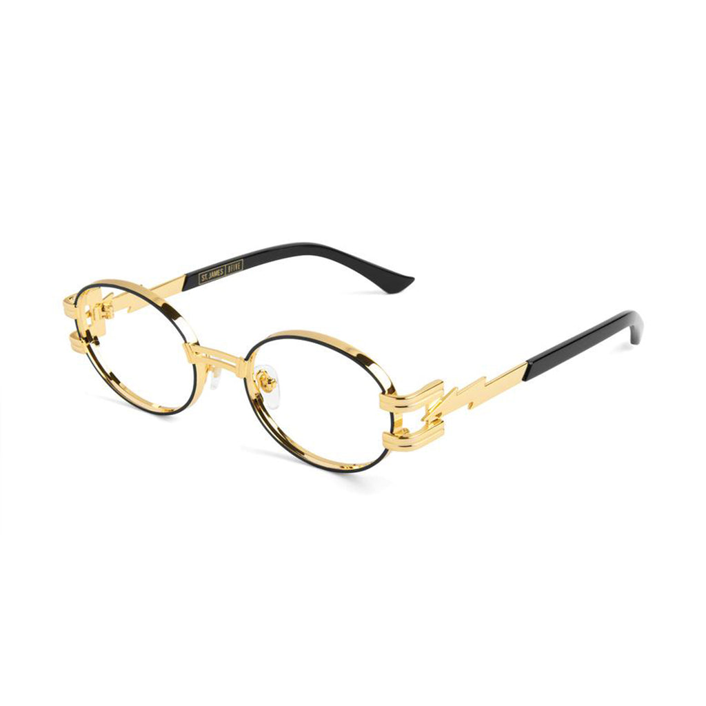 9 Five St. James Bolt Black and 24K Gold Clear Lens Sunglasses